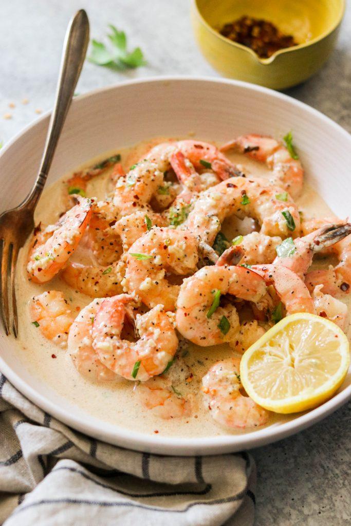 Shrimp served in a bowl