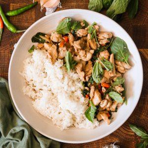 Paleo Thai Basil Chicken served with rice