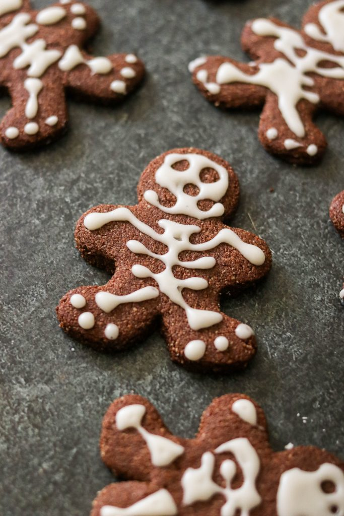 gluten free chocolate sugar cookies decorated for Halloween